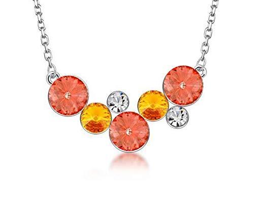 Fashion Womens Orange Crystal Rhinestone Silver Chain Pendant Necklace Charm New