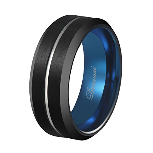 Black Navy Ring (Denvosi ELEGANCE Tungsten Carbide Ring for Men 8mm Matte Brushed Black Surface Inlaid Silver Line High Polished Navy Inner Face Wedding Band Anniversary Party Ring Comfort Fit Size 10)