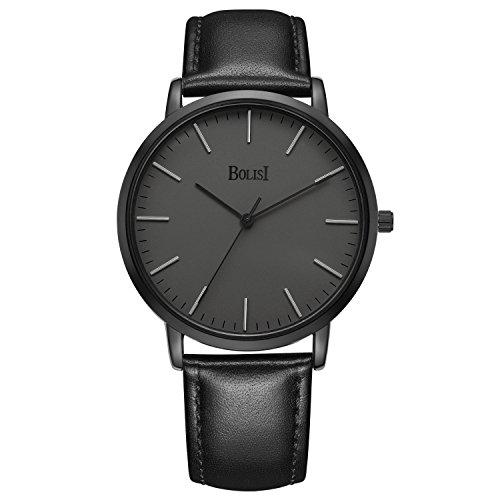 Slim Dress Watch (BOLISI Mens Womens Watches Ultra-thin Elegant Classic Analog Quartz Fashion Dress Wrist Watch with Calfskin Leather Band (Black Gray))