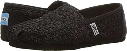 TOMS Kids Girl's Alpargata (Little Kid/Big Kid) Black Lace Glimmer 5 Big Kid M