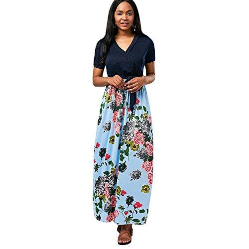 (Leomodo Floral Belted Surplice Ankle Length Dress)