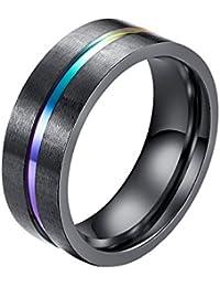 Men's 8MM Titanium Rainbow Groove Black Matte Brushed Wedding Ring Band Lgbt Couples Rings