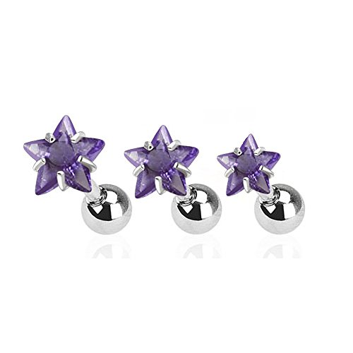 Set of 3 Star Top Tragus Barbell 316L Surgical Steel Cartilage Bar Helix Piercing 16g (316l Surgical Steel Top)