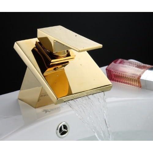 YAJO Modern Widespread Waterfall Spout Bathroom Vessel Sink Faucet , Gold  Finish low-cost
