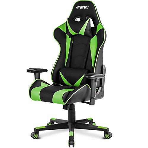 Merax High Back Gaming Chair Enlarged Racing Chair Home Office Computer Chair (Green) Merax