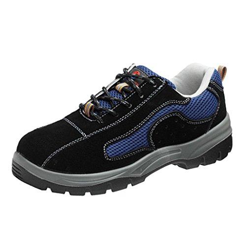 - MagiDeal Men & Women Leather & Steel Anti-smash Safety Steel Toe Work ShoesToe Work Boots for Heavy Duty Work Wide Fit Blue - EU 41 US 8.5 UK 7.5
