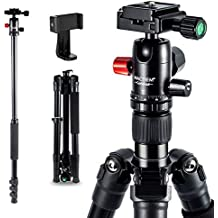 """Camera Tripod - 33lbs Load 62"""" DSLR Tripod, 2.9lbs Weight Video Tripod w/ 360° Panoramic Ball Head & Phone Holder, Stable Heavy Duty for Macro Photography Travel Canon Nikon D3400 Sony iPhone Samsung"""