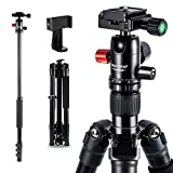 Camera Tripod - 62 inch Travel Aluminum Tripod Monopod with 360 Degree Panning
