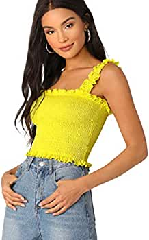 d27b0767c38 Romwe Women's Neon Frill Trim Strap Shirred Smock Crop Top Vest Tank Cami  Bright-Yellow XS at Amazon Women's Clothing store: