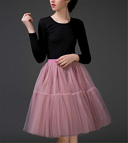 Tulle Skirt,Women's Midi Tulle Tutu Skirt Fluffy Princess Five Layers A line Party Prom Underskirt Mauve]()