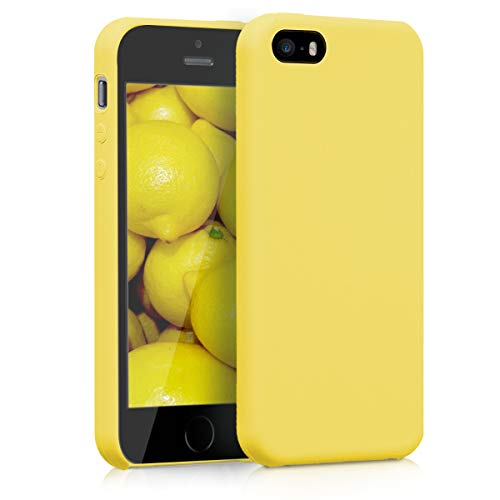 kwmobile TPU Silicone Case for Apple iPhone SE / 5 / 5S - Soft Flexible Rubber Protective Cover - Yellow Matte