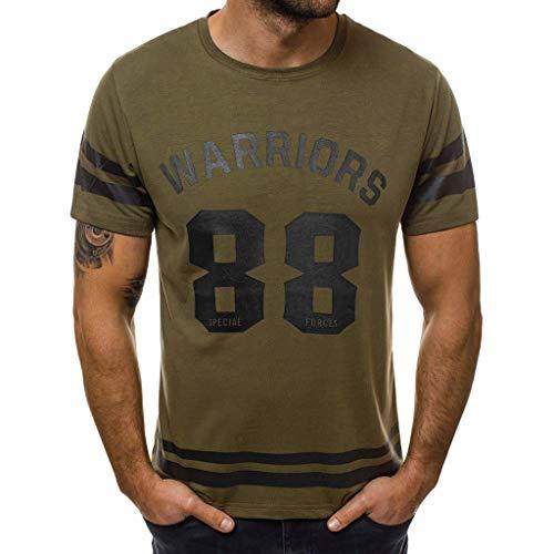 (Mens Summer Short Sleeve Football Baseball Tee Shirt Jersey Crew Neck Striped Tops Casual T-Shirt (XXXL, Army Green))