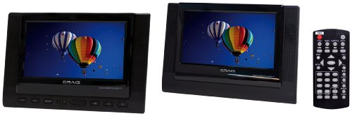 Craig 7-Inch TFT Dual Screen Portable DVD Player, Black (CTFT719)