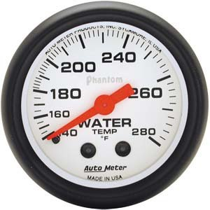 Autometer Phantom 2 1/16 Water Temperature 140-280 Gauge Universal