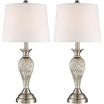 Arden brushed steel twist column table lamp set of 2