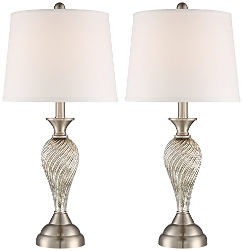 Arden Brushed Steel Twist Column Table Lamp Set of (Brushed Steel Glass Table Lamp)
