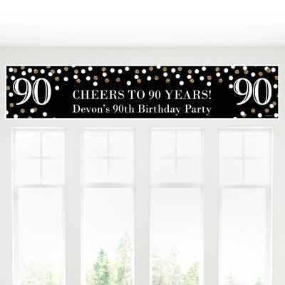 Big Dot of Happiness Custom Adult 90th Birthday - Gold - Personalized Birthday Party Decorations Party Banner