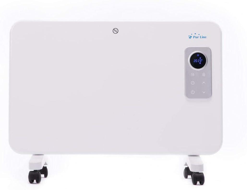 PURLINE Radiador Digital de Aluminio con Control WiFi por App de móvil o Tablet. Pared o Suelo Apto para baño. Gran Potencia máxima de 1000 W
