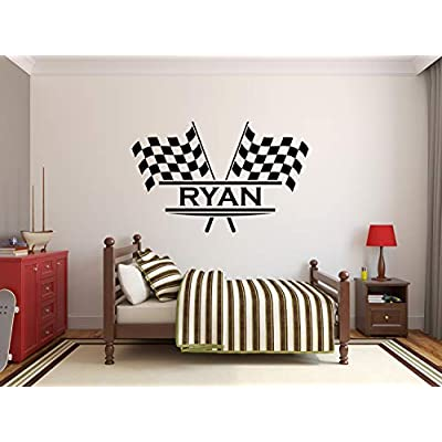 Personalized Name Flags Racing Wall Decal - Baby Room Decor - Nursery Wall Decals - Racing Wall Decor Mural Sticker (36