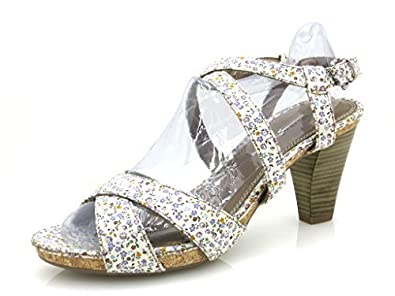 Fleurs Sandalette Femme Tamaris Haut Chaussures Talon T1uKclJF3