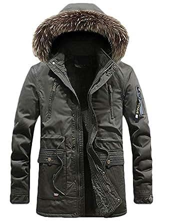 Hmarkt Mens Cotton Winter Hooded Thicken Faux Fur Collar