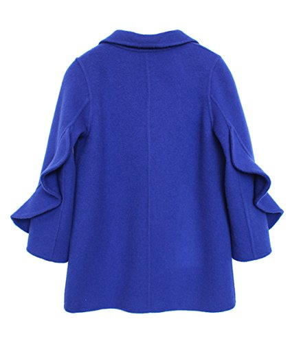 Girls Handmade Coat mid-length Woolen Overcoat Blue by ZYYGL (Image #1)
