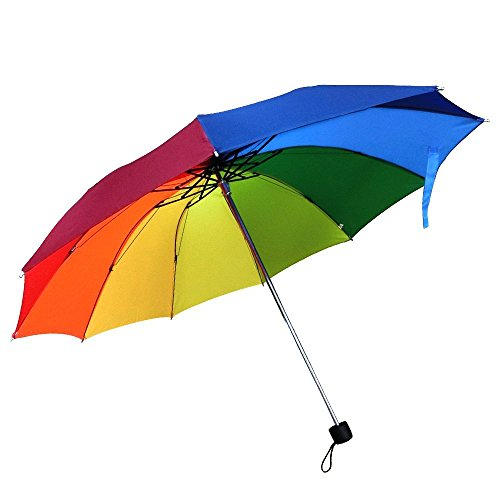 Travel Umbrella, 10 Rib Strong Enough Wind Resistant Frame, Collapsible, Compact and Durable, Lightweight and Cute (Rainbow)