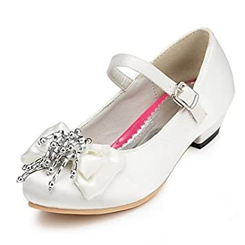 a3d9f22bb247 Amazon.com  FAGL Girls  Shoes Comfort Flat Heel Satin Flats with Bowknot Wedding  Shoes More Colors available
