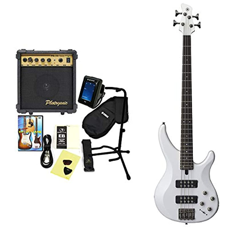 YAMAHA 일렉트릭 기타 베이스 초심자 입문12점 세트 TRBX304 야마하 베이스 초심자 입문 (TRBX304 WH)