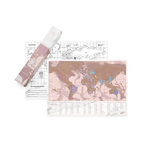 Luckies of London Scratch Off Map of The World Poster - Rose Gold Travel Sized Edition - Includes Note and Route Planner - Wanderlust Travel Gifts for Backpackers, World Travellers and Island Hoppers