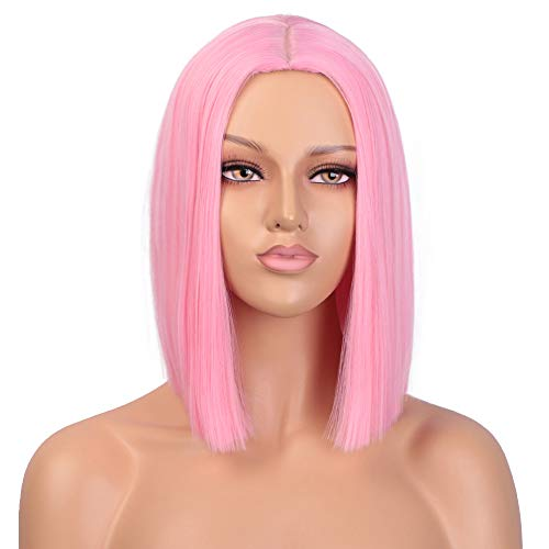 ENTRANCED STYLES Pink Wig Synthetic Straight Hair Middle Part Shoulder Length Bob Wigs for Women Colorful Fashion Bob Wigs