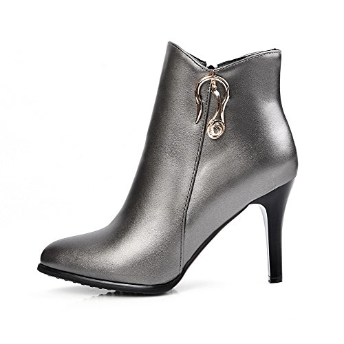 Allhqfashion Women's Low-Top Blend Materials Zipper High-Heels Closed Toe Solid Boots Silver-metal Piece CGiqYa7