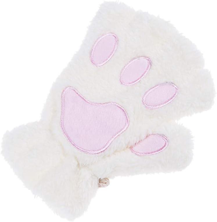 Jixing Frauen Nette Katze K/ätzchen Pfote Fingerlose Handschuhe Kurze Winter Handschuhe Weiche Pl/üsch String Handschuhe