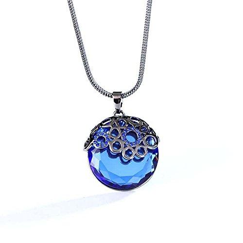 Price comparison product image Winter's Secret Gun Black Chain Dark Blue Crystal Circle shape Pendant Necklace