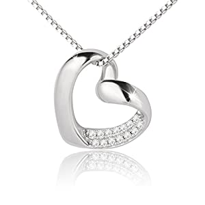 J.Rosée Sterling Silver + CZ Diamond Pendant Necklace - Single Heart Plated Sparkle Diamond