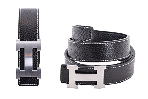 Dinamit Men's H Reversible Leather Belt With Removable Buckle Black with Silver (Leather Logo Buckle)