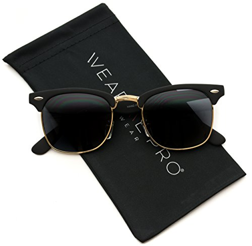 Retro Classic Metal Half Frame Horn Rimmed - Designer Sunglasses Fake