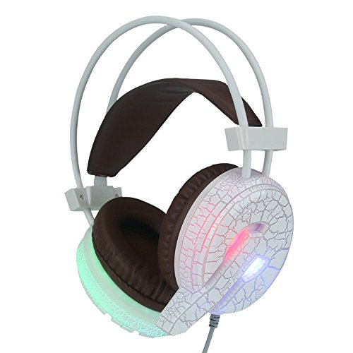 Professional Gaming Headset LED Light Earphone Headphone with Microphone Cracked Light Headphones Internet Cafes Internet Cafe Headphones (White)