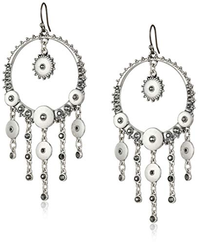 Lucky Brand Pave Disc Statement Drop Earrings, Silver, One Size (Lucky Brand Pave Disk Earrings)