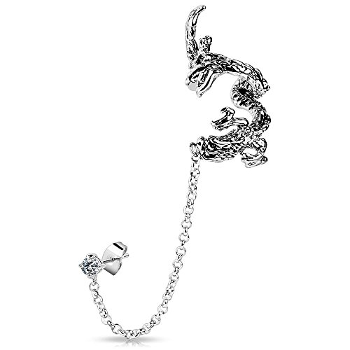Wrap Around Dragon - 3D Silver Ear Cuff, Brass Dragon Wrap-Around Ear Clip and Chain Links for Cartilage, Large Cuff and Stud Animal Earrings for Women and Girls - Bungsa