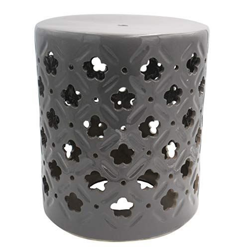 """Ravenna Home Clover-Pattern Ceramic Garden Stool or Side Table, 16""""H, Grey from Ravenna Home"""
