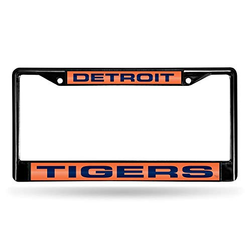 Rico Industries RIC-FCLB4301 Detroit Tigers MLB Laser Cut Black License Plate Frame