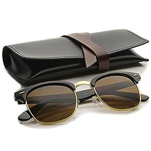 zeroUV - Premium Half Frame Horn Rimmed Sunglasses with Metal Rivets (Tortoise-Gold / Brown)