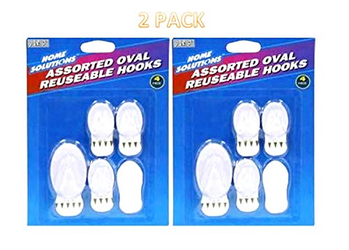 8 Pack Assorted Oval Reusable Stick on Wall Adhesive Heavy Duty Utility Hooks for Bathroom, Kitchen, Ceiling, Glass, Wood, Metal, tile etc. Office, Home, School, Nail Free and Scratch Free, Waterproof