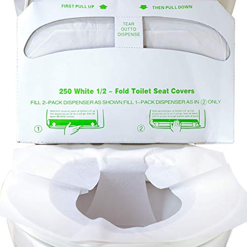 Biodegradable Half-Fold Toilet Seat Covers 250 Pk. Self-Flushing, Disposable Potty Papers Keep Toilets Clean and Family Healthy. Sanitary Paper Safety Covers for Commercial, Home, Travel and Kids Use