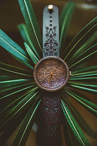 Wooden Engraved Watch King Mandala Powered By Swiss Quartz Movement | Personalized Wrist Watches With Customizable Artwork | Unique Gift Idea For Men & Women with Engraved Watch Strap