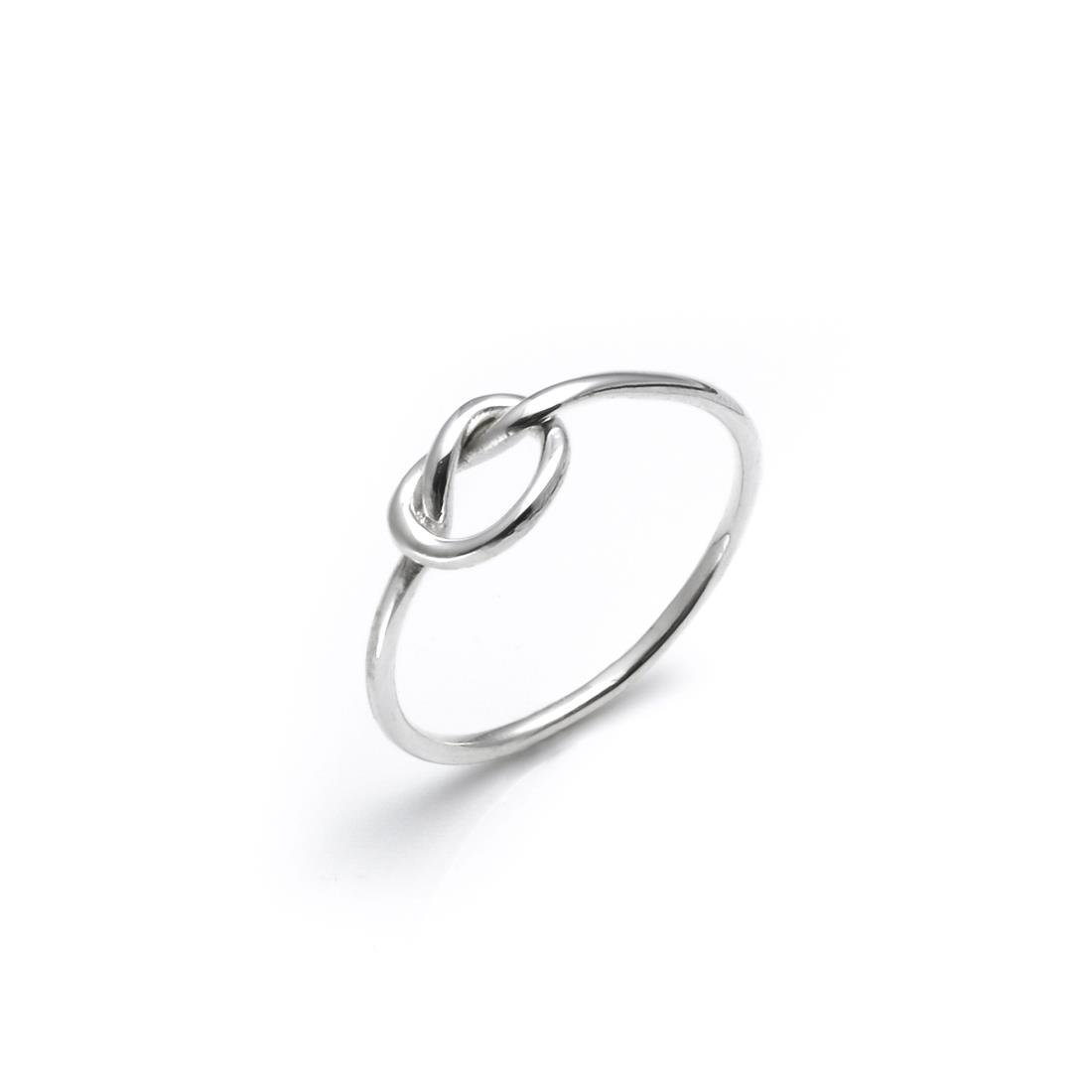 Silverly Women's .925 Sterling Silver Make A Wish Love Knot Thin Ring
