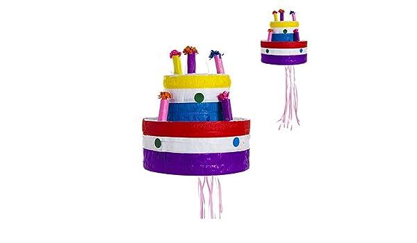 Makingifts Piñata Cumpleaños para Relleno de chuches y Regalos 1 Solo Uso Pastel 30 cm
