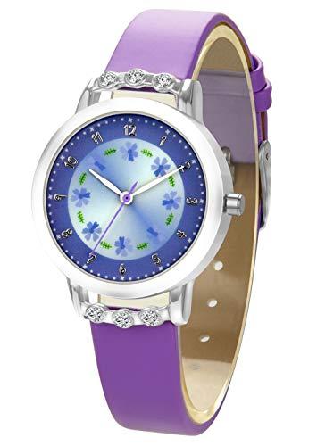 🥇 Reloj para Niñas Reloj de Cuarzo Analógico para Chica Relojes para Niños Impermeable con Esfera de Flores Caja de Diamantes Correa de Cuero de Dekyda