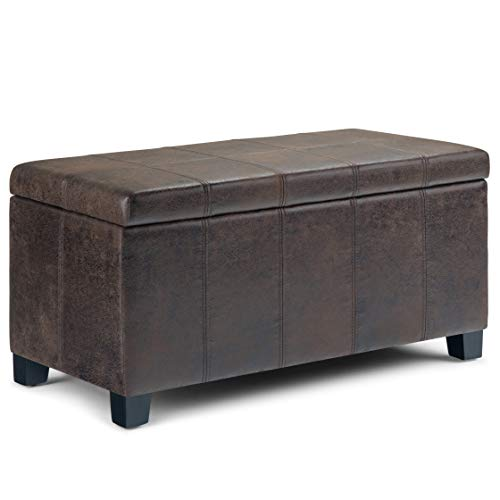- Simpli Home AXCOT-223-DBR Dover 36 inch Wide Contemporary  Storage Ottoman in Distressed Brown Faux Air Leather